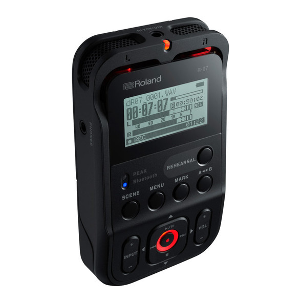 Roland R-07 Portable High-Resolution Audio Recorder, Black