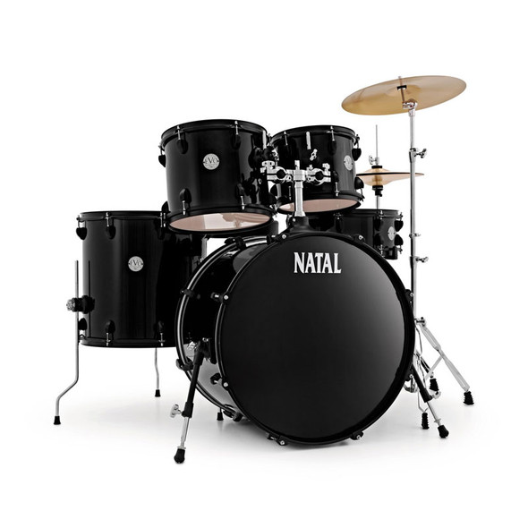 Natal EVO 22 Inch Complete Drum Kit with Cymbals Black/Black Fittings