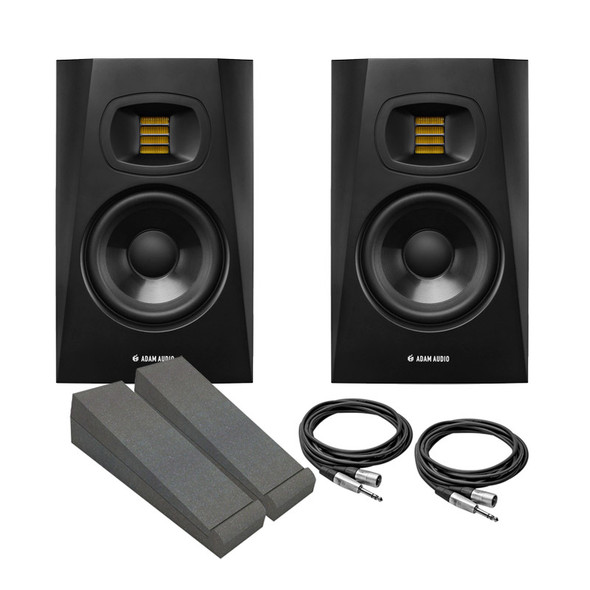 Adam T5V Active Studio Monitor Bundle With Pads and Cables