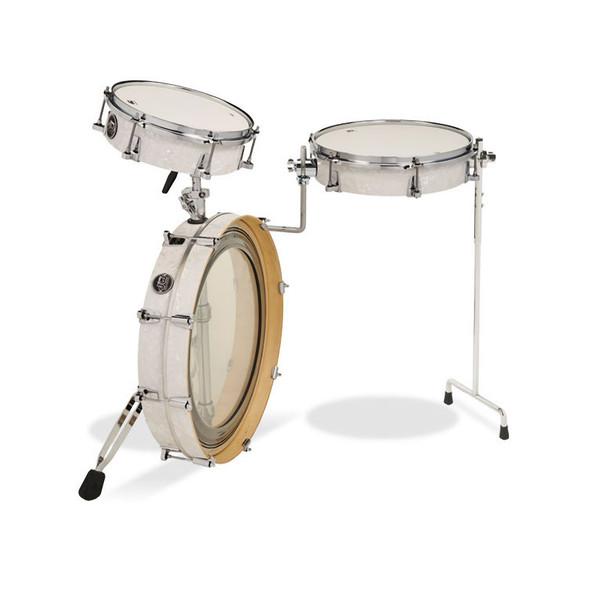 DW Drum Workshop Low Pro 3 Piece Travel Drum Kit, White Marine