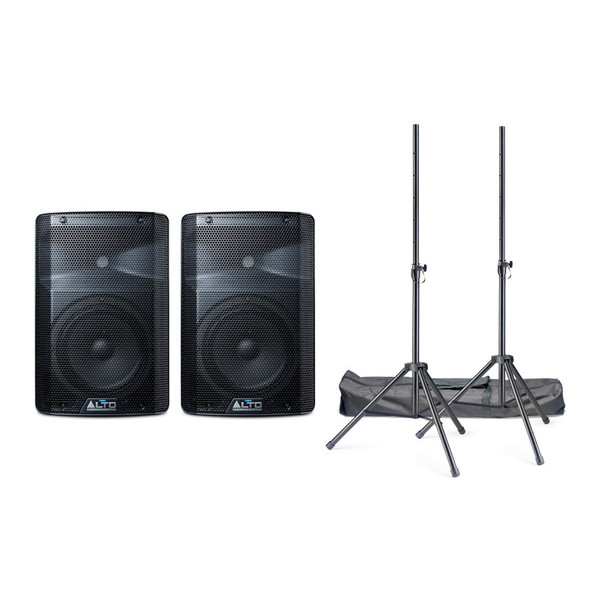 Alto TX208 Active PA Speaker Bundle with Stands and Cables