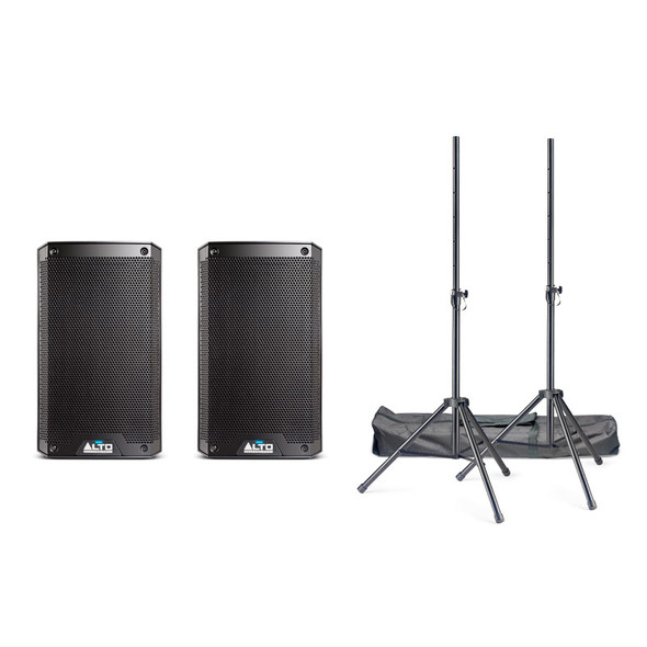 Alto TrueSonic TS308 Active PA Speaker Bundle with Stands and Cables