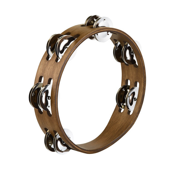 Meinl CTA2WB Compact Wood Tambourine with Stainless Steel Jingles, Walnut Brown