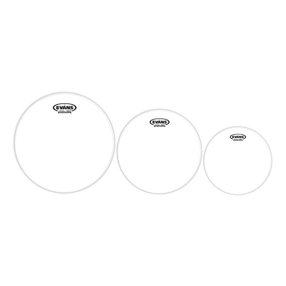 Evans ETP-EC2SCLR-R Tom Pack: EC2 Clear Drum Heads, Rock