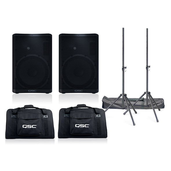 QSC CP12 Active PA Speaker Bundle with Stands and Bags