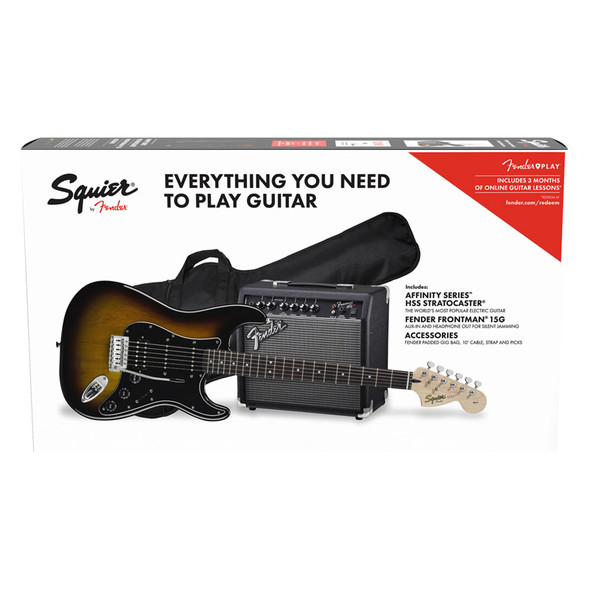 Fender Squier Affinity Series Stratocaster HSS Pack, Brown Sunburst
