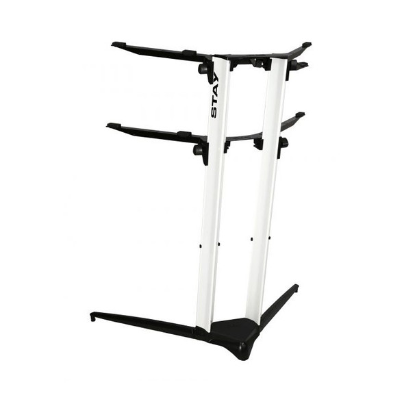 STAY PIANO 120002 Two Tier Heavy Duty Keyboard Stand, White