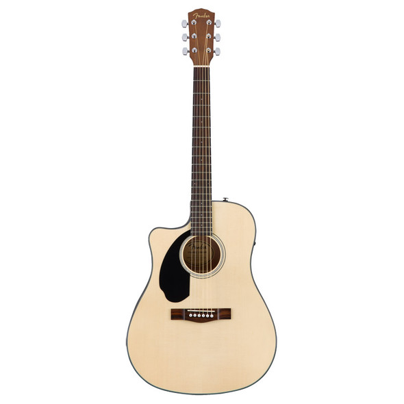 Fender CD-60SCE Left-Hand Electro-Acoustic Guitar, Natural, Walnut