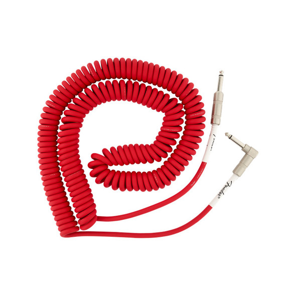 Fender Original Series 30 foot Coiled Instrument Cable, Fiesta Red