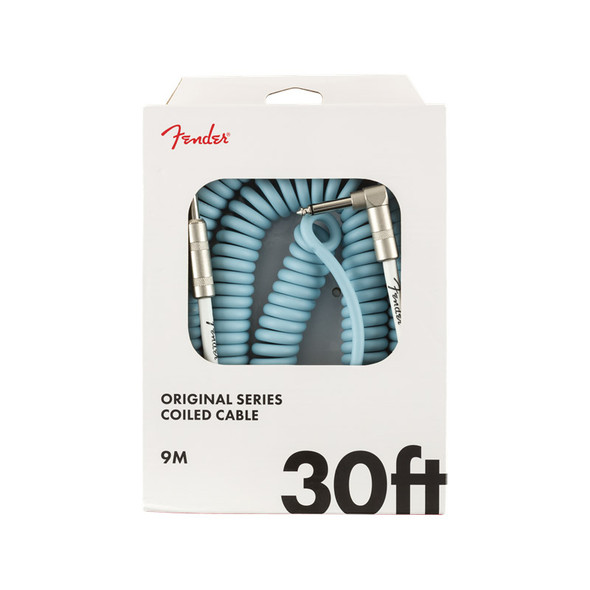 Fender Original Series 30 foot Coiled Instrument Cable, Daphne Blue