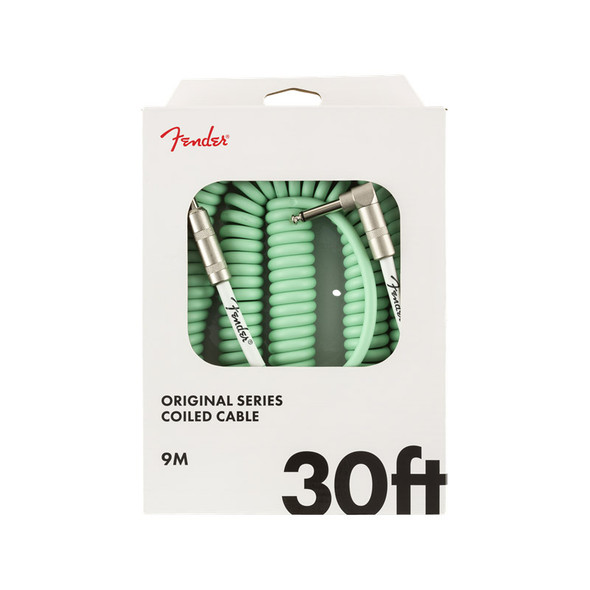 Fender Original Series 30 foot Coiled Instrument Cable, Surf Green