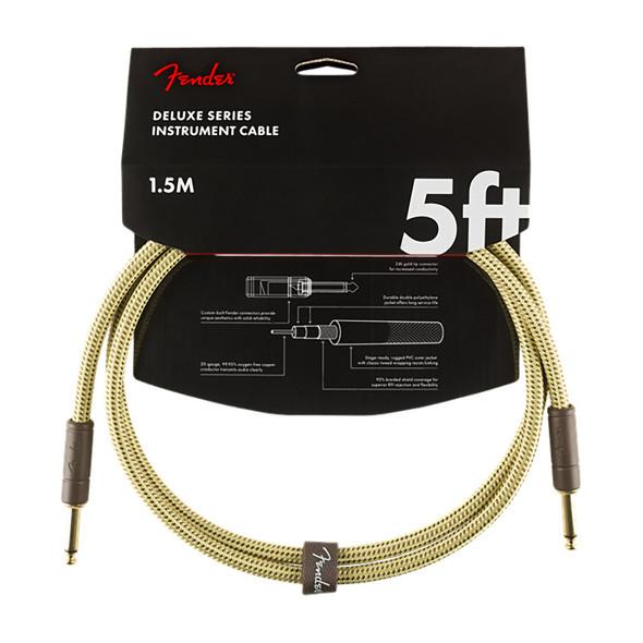Fender Deluxe Series 5 foot Instrument Cable, Tweed