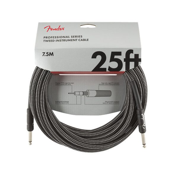 Fender Pro Series 25 foot Instrument Cable, Grey Tweed