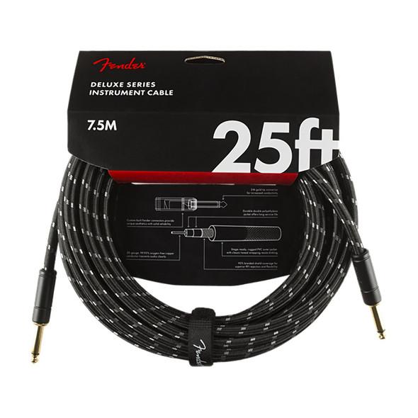 Fender Deluxe Series 25 foot Instrument Cable, Black Tweed