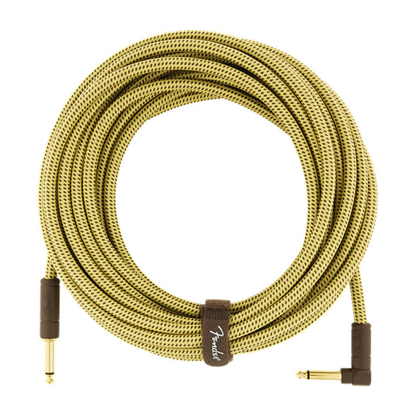 Fender Deluxe Series 25 foot Angled Instrument Cable, Tweed