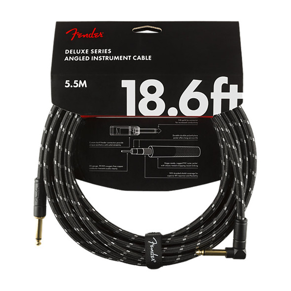 Fender Deluxe Series 18.6 foot Angled Instrument Cable, Black Tweed