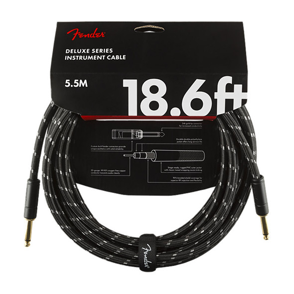 Fender Deluxe Series 18.6 foot Instrument Cable, Black Tweed