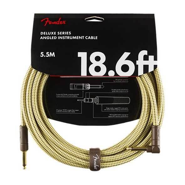 Fender Deluxe Series 18.6 foot Angled Instrument Cable, Tweed