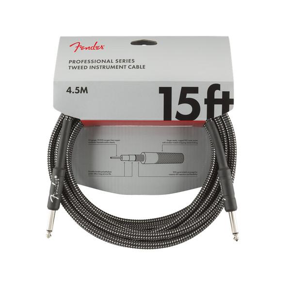 Fender Pro Series 15 foot Instrument Cable, Grey Tweed
