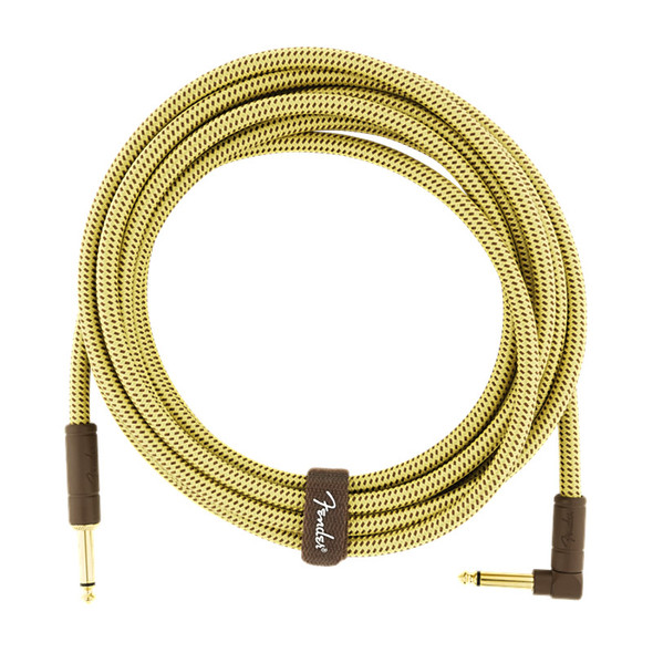 Fender Deluxe Series 15 foot Angled Instrument Cable, Tweed