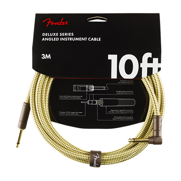 Fender Deluxe Series 10 foot Angled Instrument Cable, Tweed