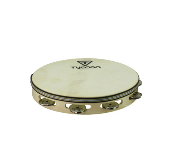 Tycoon Headed Wooden Tambourine Double Row, Steel Jingles