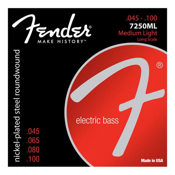 Fender 7250ml Nickel Plated Steel 45-100 Bass Guitar Strings