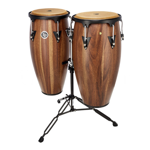 Latin Percussion Aspire Conga Set in Dark Walnut with Basket Stands
