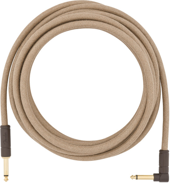 Fender 18.6 foot Angled Jack Festival Instrument Cable, Pure Hemp, Natural