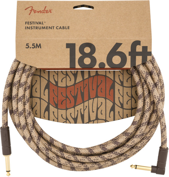 Fender 18.6 foot Angled Jack Festival Instrument Cable, Pure Hemp, Brown Stripe
