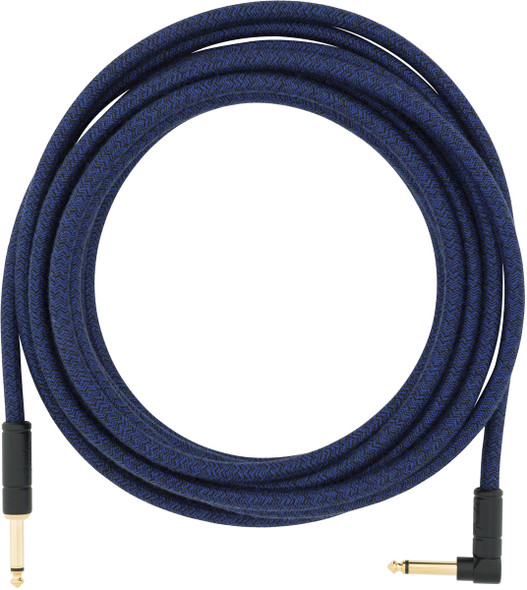 Fender 18.6 foot Angled Jack Festival Instrument Cable, Cotton Wrapped, Blue Dream