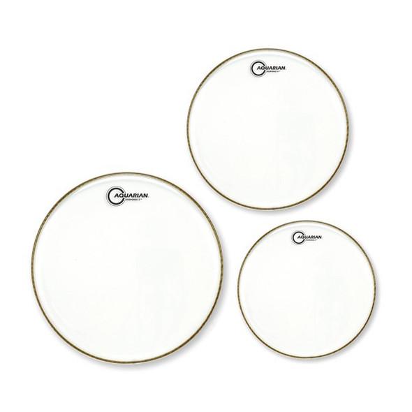 Aquarian Response 2 Clear Drumhead Pack - (10, 12, 16 inch)