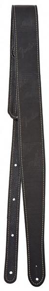 Fender Monogram Leather Guitar Strap, Black