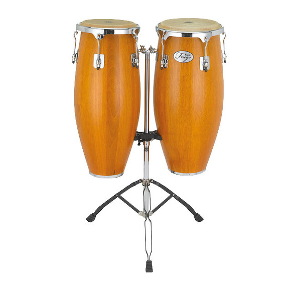 Natal Fuego Series Natural Wood 10 & 11 inch Congas in Matte Honey with Stand
