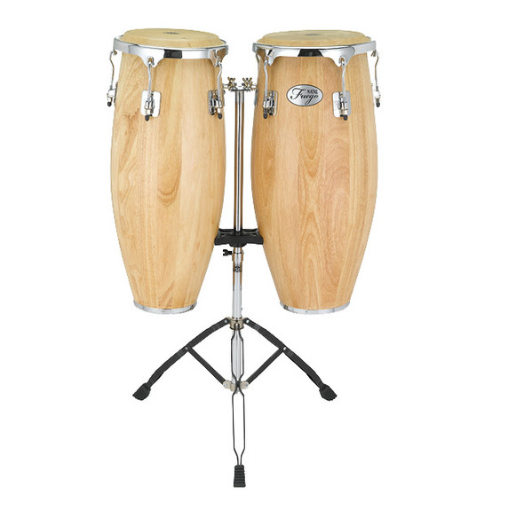 Natal Fuego Series Natural Wood 10 & 11 inch Congas in Matte Natural with Stand