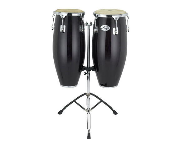Natal Fuego Series Natural Wood 10 & 11 inch Congas in Black Gloss with Stand