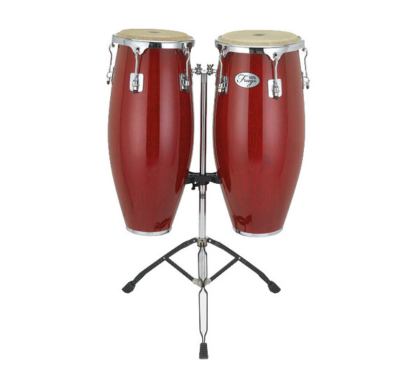 Natal Fuego Series Natural Wood 10 & 11 inch Congas in Red Gloss with Stand