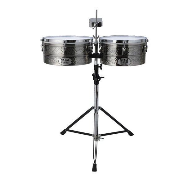 Natal NT1012TNIC Black Nickel Timbales 10 + 12 inch with Stand