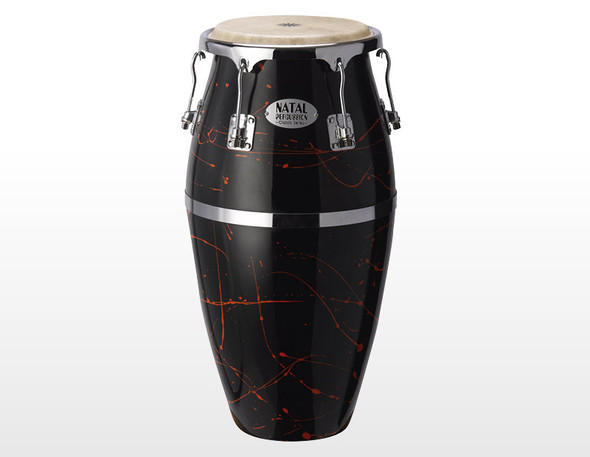 Natal NCSFC-BR Classic Series Splatter Finish 11 & 12 inch Congas Black with Red