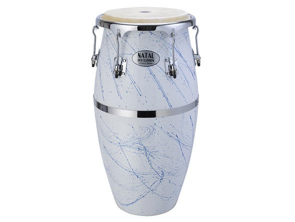 Natal NCSFC-WB Classic Series Splatter Finish 11&12 inch Congas White with Blue