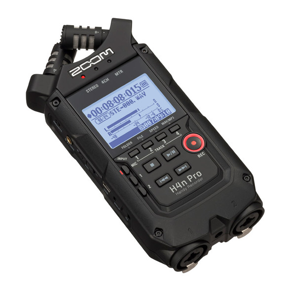 Zoom H4n Pro Portable Recorder, All Black Finish