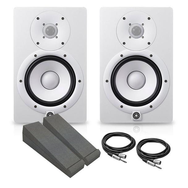 Yamaha HS7W Active Studio Monitor Bundle, White