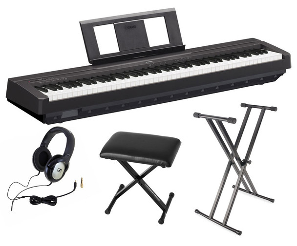 Yamaha P-45 Piano Bundle, Black, with Headphones, Bench and Stand