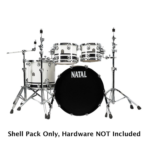 Natal Cafe Racer UFX 4 Piece Shell Pack in Black and White Split Finish