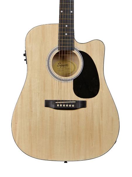 Fender Squier SA-105CE Dreadnought Cutaway Electro Acoustic Guitar, Natural