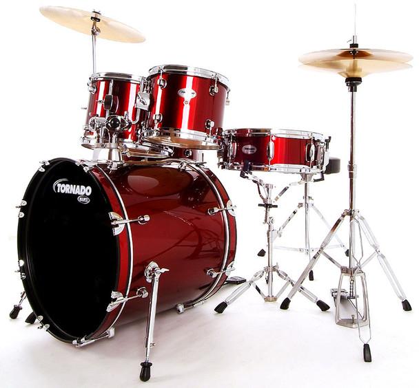 Mapex Tornado 20-Inch Fusion Drum Kit, Dark Red