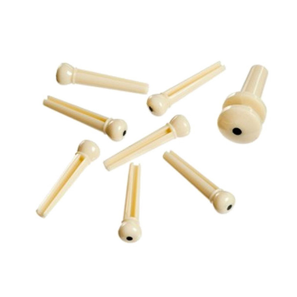 Planet Waves PWPS12 Plastic Bridge and End Pins Set, Ivory with Black Dot