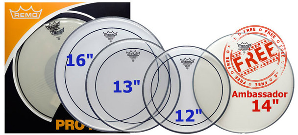 Remo 12/13/16 Clear Pinstripe Head Pack with Free 14 Inch Coated Ambassador