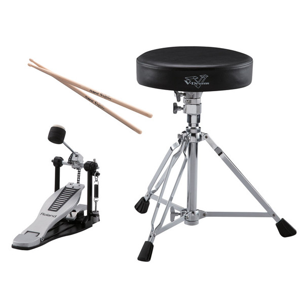 Roland DAP-3X V-Drums Accessory Package , Drum Throne, Kick Pedal, Drumsticks