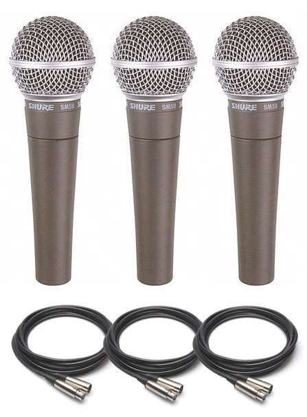 Shure SM58 Dynamic Microphone Triple Pack including Cables